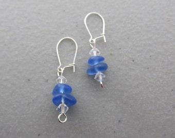 Dangle Earrings Jewelry BLUE Sea Glass, Seaglass Earrings, Beach Glass Dangle Earrings, Sea Glass Jewelry