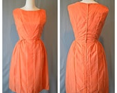 50s TANGERINE and PEARLS Cocktail Dress / 1950s Party Dress /  Full Skirt with Pearl Detail