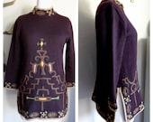 Stunning Vintage Scandinavian Boho Hippy Heavy Embroidered Wool Sweater