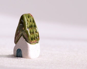 Mini house for gardens or terrariums, ceramic cottage with green glaze