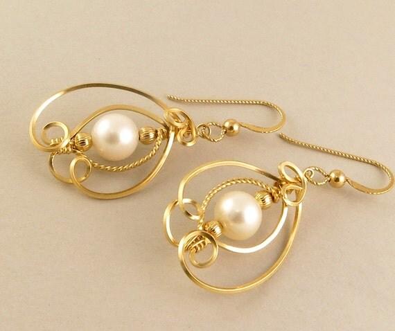 Pearl Earrings 14k Gold Filled Real Pearl Wire Art Sculpture Earrings