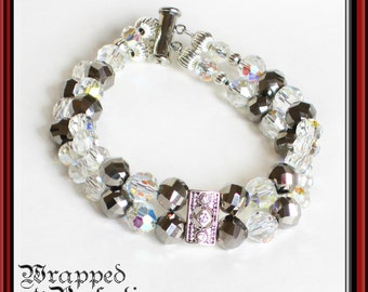 Crystal Double Strand Bracelet / Vintage AB Crystal Art Deco Faceted Glass / Bride Something Old / Swarovski Pewter Charcoal Gray Grey Smoke