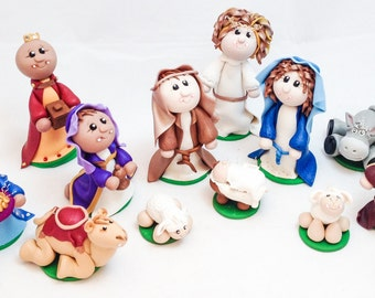 Customizable Polymer Clay Nativity Figurines - Holy Family featuring Mary Joseph Baby Jesus Angel Wisemen Shepherd Sheep Camel Donkey