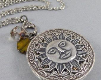 Sunshine,Sun,Sun Necklace,Sun Locket,Necklace,Locket,Silver Locket,Sun,Sun Locket,Sun Necklace,Summer Necklace,Valleygirldesigns.