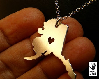 ALASKA Map Handmade Personalized Sterling Silver .925 Necklace in a gift box