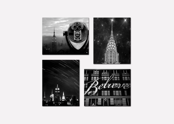 SALE, Black and White New York Photography, Travel, Manhattan Skyline, NYC Art, New York City Prints, 4 Photo Set