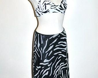 GIANNI VERSACE VERSUS Vintage Chain Mail Suit Zebra Stripe Blouse Bra Top Skirt - Authentic -