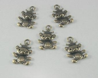 10 pcs. Zinc Antique Brass Cute Bear Crown Charms Pendants Decorations Findings 15 mm. BA RC