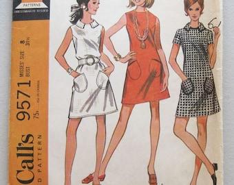 1968 Vintage McCalls Dress Pattern 9571 Size 8 Bust 31 1/2 Uncut