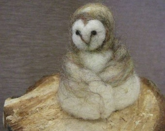 Needle felted owl, Wise Owl, Needle felted animal, Owl Woman, Barn owl, Nature Table, Felted toy, Design by Borbala Arvai