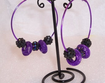 60mm Purple Beaded Basketball Wives Hoop Earrings, with Bling Balls and large Mesh Rondelle Beads, purple, Basketball wives, hoop earrings