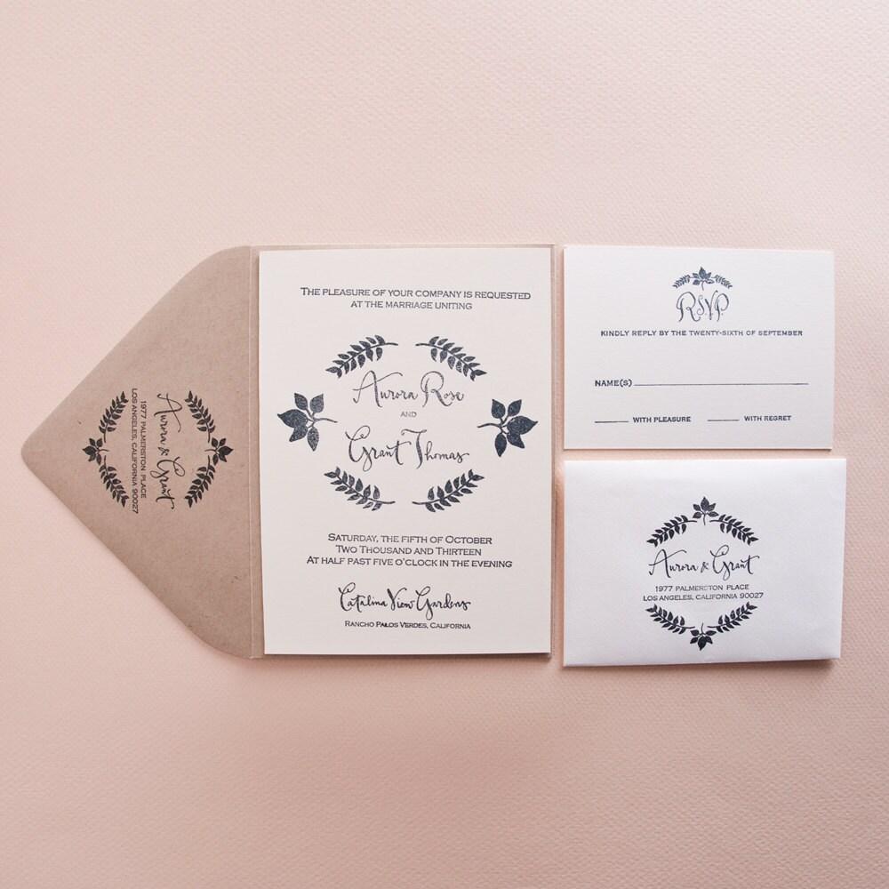 Custom Calligraphy Garden Wedding Invitation Stamp Set