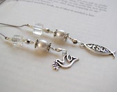 Beaded Bookmark - Religious Jesus and Dove Olve Branch Silver Charms Beaded Book Thong Bible Teacher Gift Glass Pearl and Silver Pure Peace
