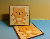Adorable Yellow Orange Kitty Cat - Mini cards Thank you Cards Cutomer Thank You Cards( Set of 4)