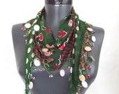 Turkish scarf ,Turkish oya scarf , hand crocheted oya scarf / bandana / headband / gift for her