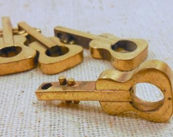 Raw Solid Brass Guitar Beads (4) Boho, Music, Hippie, Pop