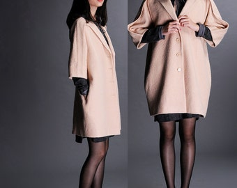 Beige wool coat jacket