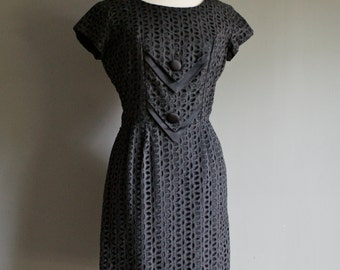 Vintage 60s Black EYELET Wiggle Mad Men JOAN Dress (m)