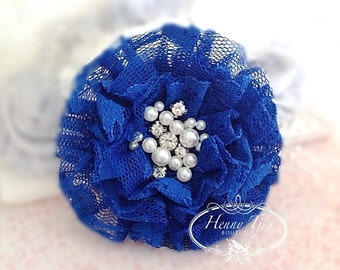 NEW: The Sunridge- 2 pcs 3 inch ROYAL BLUE Ruffled Lace Fabric Flowers w/ rhinestones pearls center for Bridal Sashes, Hair Accessories