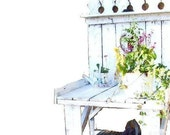Garden Potting table. White Cottage Shabby Rustic distressed French Farmhouse  by 3VintageHearts