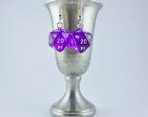 Mini Purple D20 Earrings, Mini Dice Earrings, Geekery, Gamer Earrings, Dungeons and Dragons Earrings