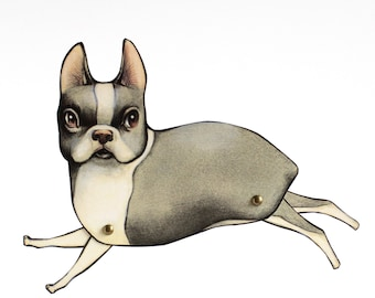 Mr. Otto - fully assembled Boston Terrier articulated paper doll by Mab Graves