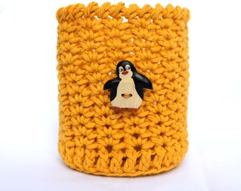 Penguin Mason Jar Cozy Coaster Gold
