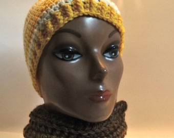 Jaco Pastorius Inspired Yellow And White Striped Crochet Beanie For Your Bass Player Boyfriend