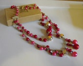 50s Necklace Pink Red Silver 1950s Japan Vintage Costume Jewelry