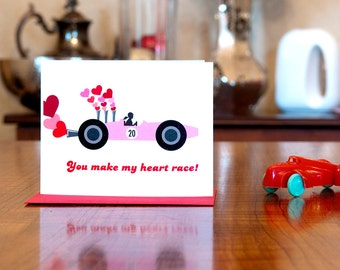 Retro Race Car Driver I Love You Card on 100% Recycled Paper