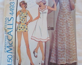 vintage McCALLS 4493 (1975)-- Misses' and Women's DRESS & SHORTS (size 38)