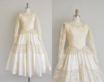 1950s wedding dress / 50s tea length dress / 50s wedding dress