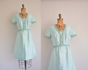 vintage 1960s dress / mint blue silk dress / 60s beaded dress