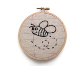 Bumble Bee - Four Inch Embroidery Hoop Wall Art - Notebook Paper Fabric
