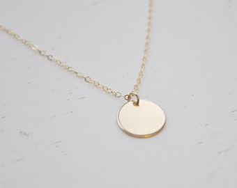 Gold Disc Necklace - gold filled dot round 1/2 inch disc charm pendant delicate chain modern classic - simple & sweet everyday jewelry