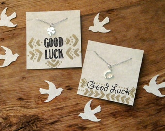 Good Luck Sterling Silver FOUR LEAF CLOVER Charm Necklace