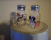 Dog Glass Salt and Pepper Shakers Hand-painted Pet Salt & Pepper Shakers by Lisa Hayward