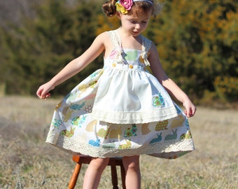 Sale.Easter Dress. Apron Knot Dress for Girls. Size 2T.