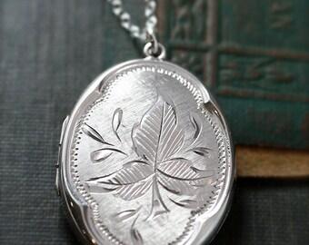 Rare Oval Sterling Silver Locket Necklace, Leaf Engraved Vintage Pendant - Woodland Reflections