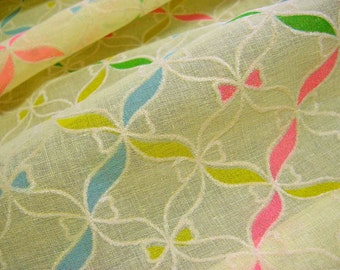 Flocked Ribbons Vintage 60s 70s Cotton Lawn Organdy Fabric -Pink Blue Green Yellow- Little Dresses, Retro Frocks & Doll Clothing