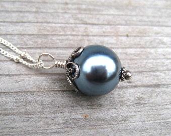 Blue Pearl Necklace,  Single Pearl Pendant,  Sterling Silver,  Sea Shell Pearl