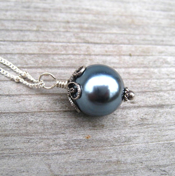 Blue Pearl Necklace,  Single Pearl Pendant,  Sterling Silver,  Sea Shell Pearl