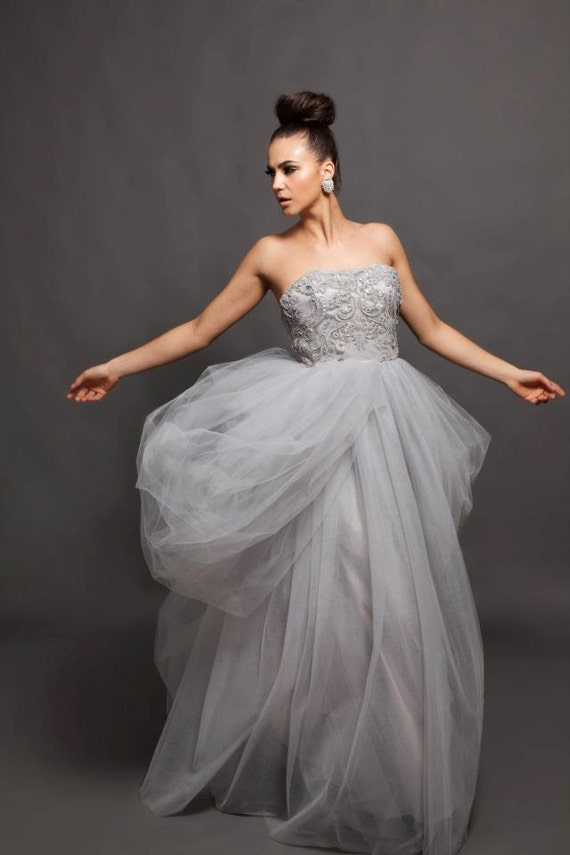Items similar to wedding gown grey wedding dress alva for Gray dresses for a wedding