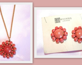 1960s Bullocks Coral Tone Pendant and Clip Earrings Set