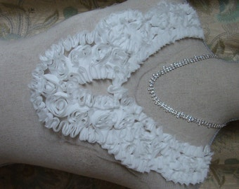 Delicate Neckline Applique Embellishment Necklace Flower Petal Snow White Tulle Lace S112