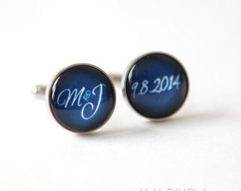Wedding Keepsake Gift for Groom, Navy Blue Wedding Cuff links Personalized Groom gift, wedding Personalized Cuff links,Custom Color Initials
