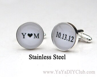 Personalized Cufflinks Wedding Cuff links Custom Color Initials heart Date - Groom Cuff links Groom Gift from bride