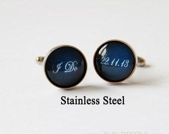 Grooms Gift, Navy Blue Wedding Cufflinks for Groom Cuff Links, Custom Cufflinks, Personalized Cufflinks Groom Gift
