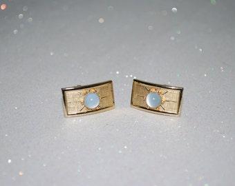 Mid Century White Moonstone Cuff Links - Swank - Brushed Gold Tone - Wedding - Groomsmen