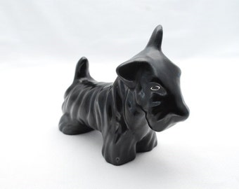 "Vintage 1940's Black Ceramic Scottie Dog Figurine - Large 6"" Figure"